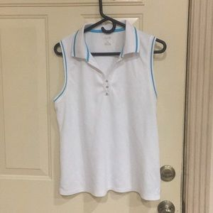 Sleeveless shirt white with turquoise